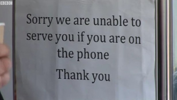 """sorry we are unable to serve you if you are on the phone"""