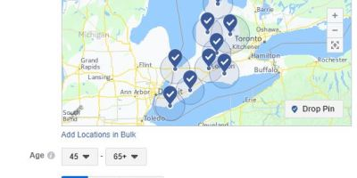 Map showing targeted rural Ontario ad buy on Facebook